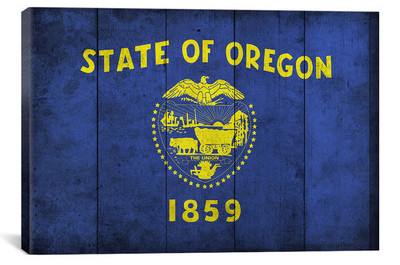 Oregon+Flag,+Wood+Planks+with+Grunge+Graphic+Art+on+Canvas